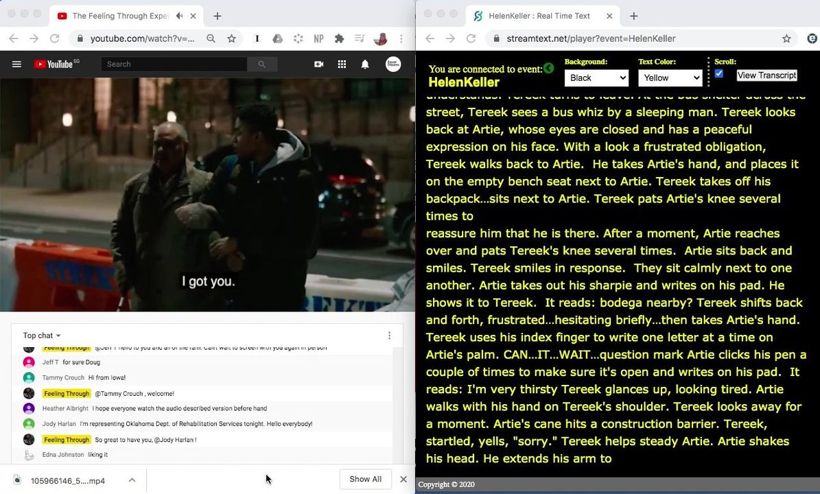 """Screengrab that showed 2 windows side by side: on the left is the YouTube screening showing a scene in the film where Tereez said """"I got you"""", as he extended his arm to Artie, and on the right is the livestream text window."""
