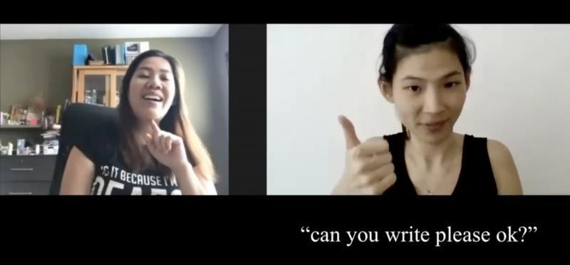 """Screen capture of an online interview with Hina on the left window and a Deaf mother interviewee, Ginny Ong, on the right window. Below Ginny are the captions that indicate what Ginny says to her doctor """"Can you write please ok?"""""""